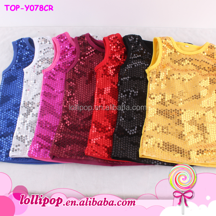 Hot sale custom sequin t shirts plain sleeveless sequin tank tops assorted color child sequin top