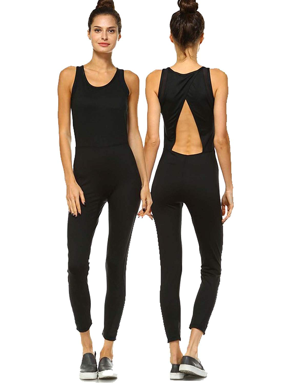 3a50ce6fdc Get Quotations · Mind Code Women s Active Yoga Wear Sleeveless Unitard  Jumpsuit Bodysuit