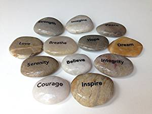 Engraved Inspirational Stones (12 Different Words), Model: esd-prr12-st12 , Home & Outdoor Store