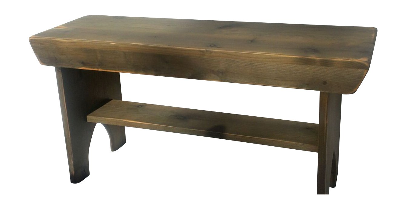 """Rustic Weathered Gray Barnwood Wood Bench with Shelf (48"""" L x 12"""" W x 18"""" H)"""