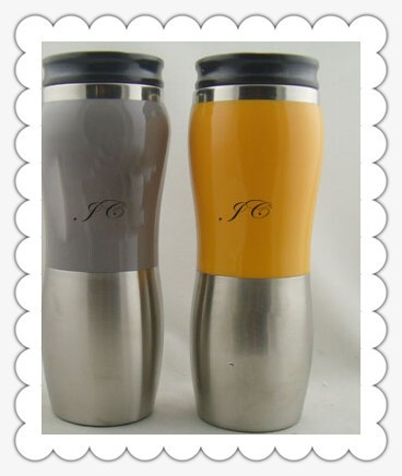 400ml various nice colors auto mug with stainless steel inside PS plastic outside in high capacity