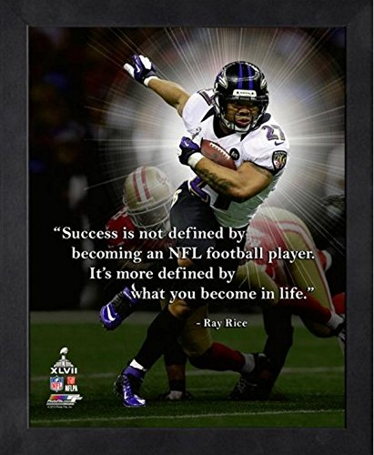 """Ray Rice Baltimore Ravens Pro Quotes Photo (Size: 9"""" x 11"""") Framed"""