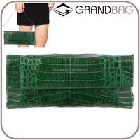 luxury fashionable green real crocodile skin leather clutch bag handbag