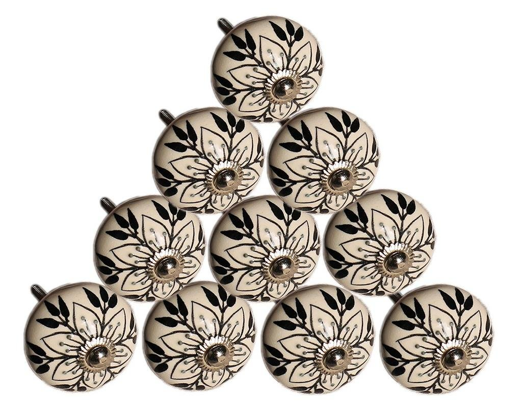 PARIJAT HANDICRAFT Set of 10 Hand Painted White & Black Leaf & Floral Ceramic Door Knobs Cupboard Wardrobe Cabinet Drawer Pulls Door Knobs
