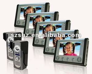 7'' color wired video door phone intercom systems 2 cameras + 5 monitors