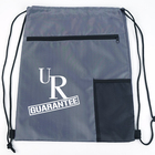 Custom Printed Polyester Gym String Backpack Zipper Pocket Drawstring Bag With Screen Cloth