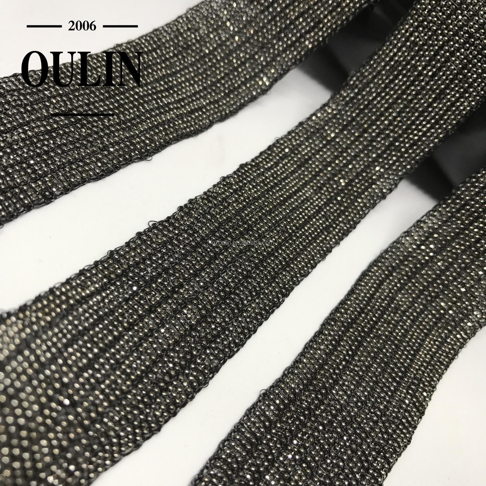 Chrome color ball chain lace trim gun metal color chain trims for garments size can be customized trimmings