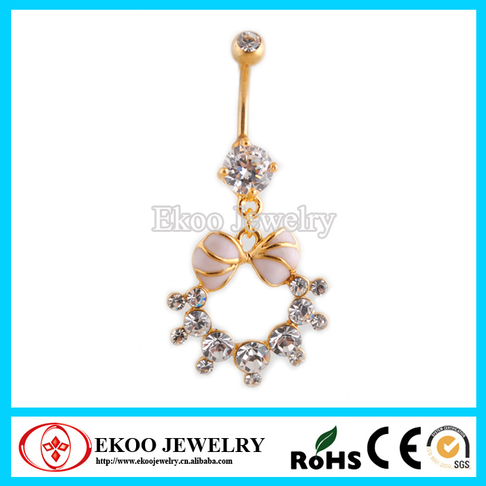 14K Gold CZ Crystal Flower Belly Bars Navel Piercings Body Jewelry