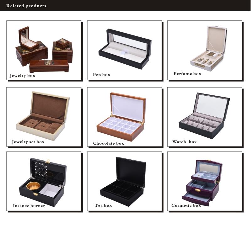 Acabamento requintado artesanal de madeira caixas de jóias colar set