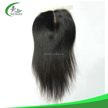 100% human virgin hair high quality silky straight mid- part 4*4 lace closure