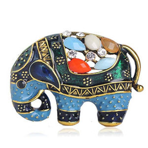 Thailand Elephant Shape Brooch Colorful Enamel Resin For Women Kids Scarf Clothes Hat Accessories Jewelry