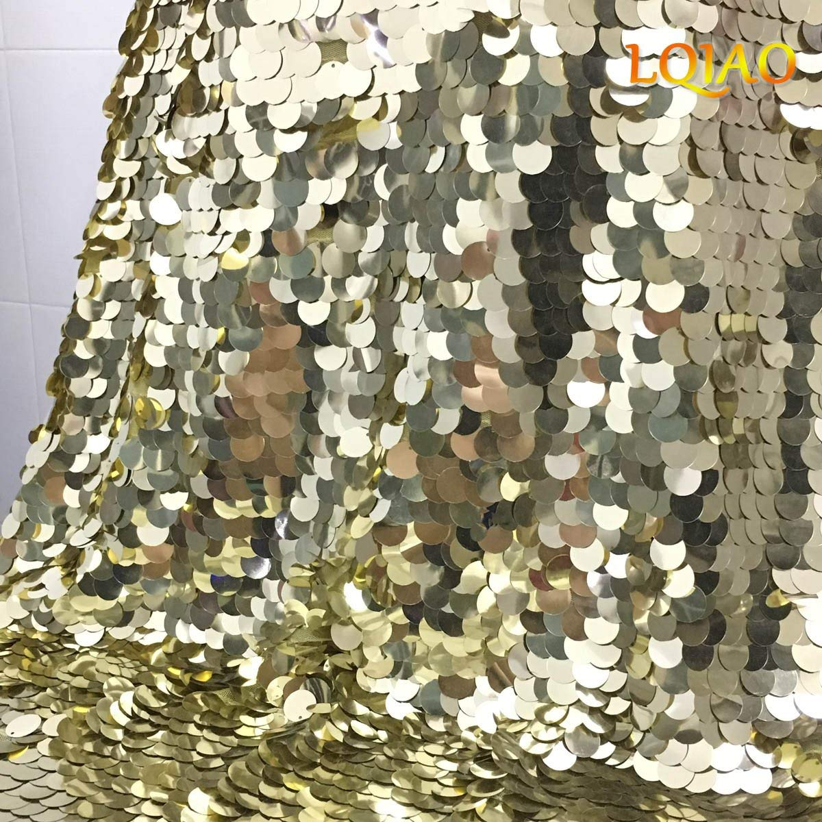 0315b163a009f Get Quotations · LQIAO 2 Yards Sequin Fabric Light Gold Flip Up Reversible  Large Sequin Fabric Sparkly Mermaid Sequin