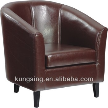 Round Red Leather Tub Chairs