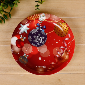 Christmas 7 inch 9 inch disposable round paper plate for party