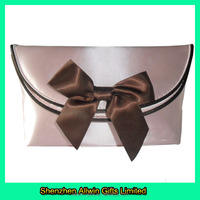 Custom Best Sales Sweet Ladies Bow Pink Satin Evening Clutch Bags
