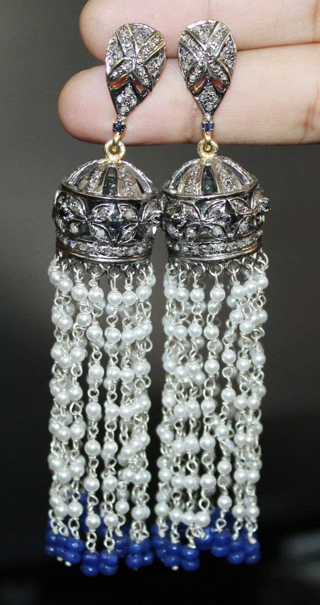 Tassel Designer Diamond Silver Danglers Earrings - Handmade Pave Diamond Earrings - 925 Sterling Silver - Silver Diamond Earrings - Bridal Choice Earrings - High Quality Rose Cut Earrings