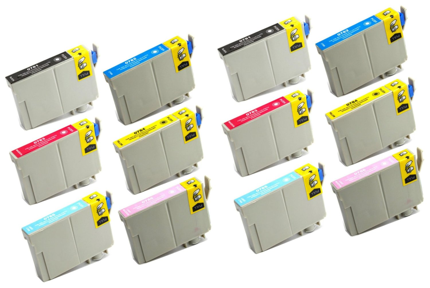12 Pack Remanufactured Inkjet Cartridges for Epson T078 #78 T078120 T078220 T078320 T078420 T078520 T078620 Compatible With Epson Artisan 50, Stylus Photo R260, Stylus Photo R280, Stylus Photo R380, Stylus Photo RX580, Stylus Photo RX595, Stylus Photo RX680 (2 Black, 2 Cyan, 2 Magenta, 2 Yellow, 2