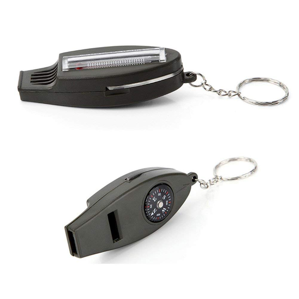 4 In 1 Outdoor Survival Whistle Compass Magnifying Thermometer /& Keychain EDC