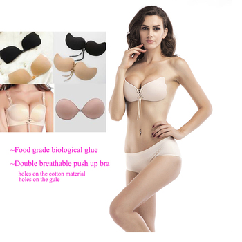 efe6fbd1cccfd Sexy Adhesive Push Up Butterfly Wing Strapless Backless Double Breath  Invisible Silicone Bra for girls