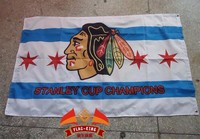 Chicago Blackhawks flag , NHL logo Rugby football club banner,three layers double sided printing, 90X150CM size