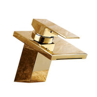 Top technology square waterfall wash sink mixer faucet brass bathroom gold faucets
