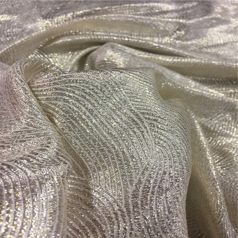 Silk Lurex metallic blended jacquard brocade fabric