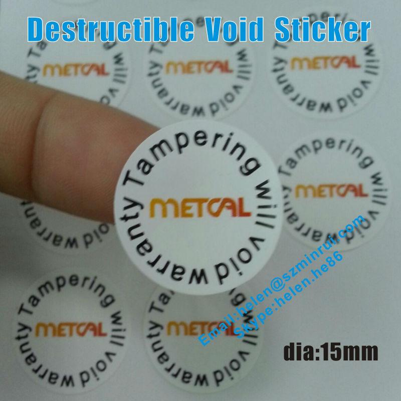 Custom destructible warranty void label stickertamper evident eggshell round warranty stickersonce stick