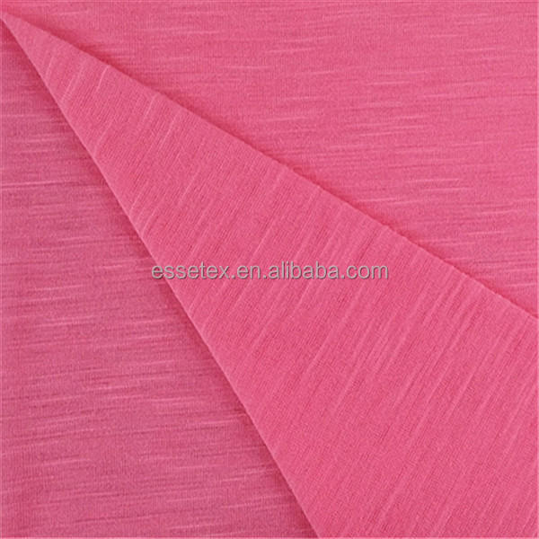 knitted rayon fabric jersey slub fabric in solid dyeing for garment 024