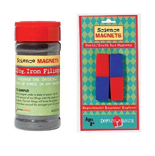 12 oz Jar of Iron Filings + North/South Bar Magnets - 2 red/blue