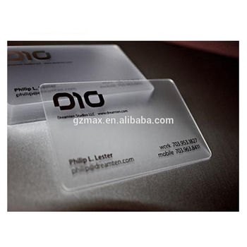 250GSM clear frosted plastic Business transparent card with a picture