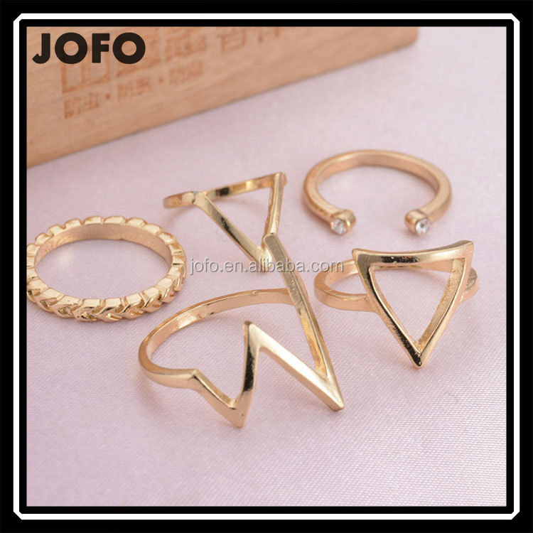 2016 Latest Designs Gold Plated Jewellery Rings Set