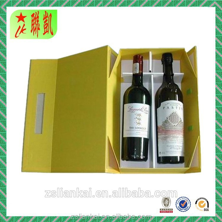 Wine box two bottle in wine box foldable magnetic flip wine box