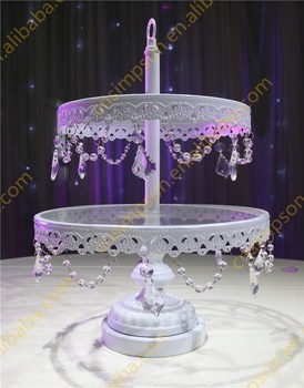 Hanging Decorative Crystal Wedding Cake Stand 2 Tiers White Glass