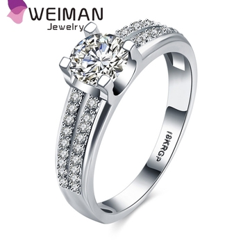 Fashion Simple Wedding Ring Designs Platinum Plated AAA Zircon Wedding Ring  Sets
