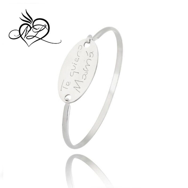 Stainless Steel Cuff Style Interchangeable Plate Promotional Stamped Message Bangle