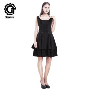 a0091245e242 Steampunk Retro Black Gothic Lolita Women Above Knee Sleeveless Dress