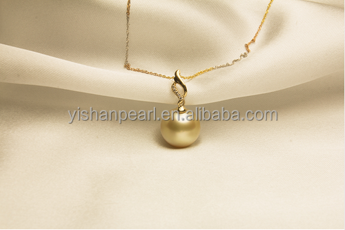 18k gold natural seawater Nanyang single Golden akoya Pearl Pendant Necklace as <strong>fashion</strong> and beautiful gifts.
