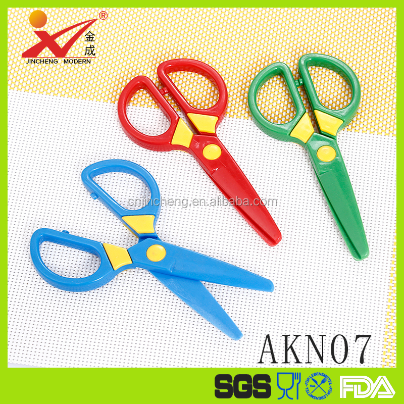 safety plastic scissors for kids children cutting scissors 3 colors