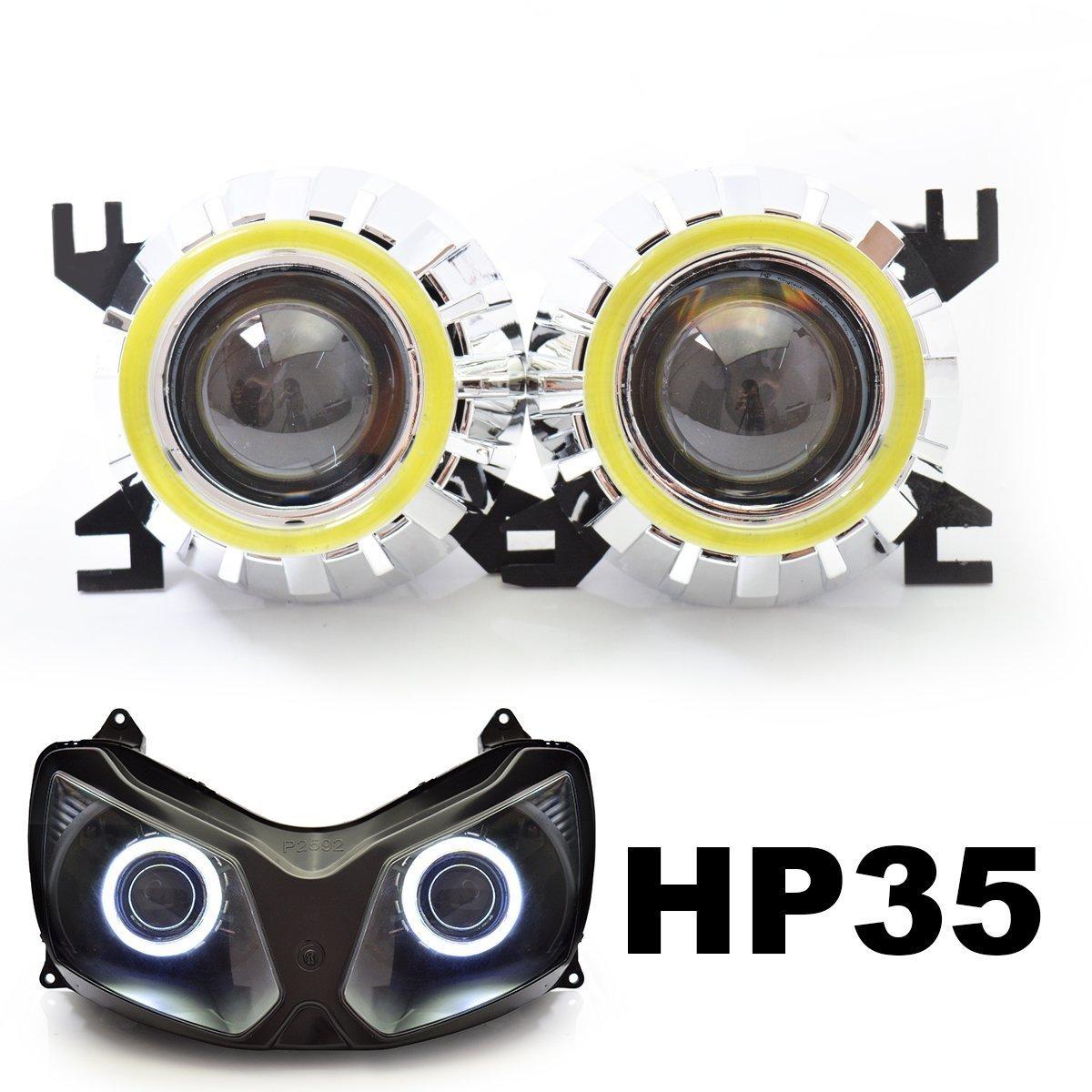 KT Tailor-Made HID Projector Kit HP35 for Kawasaki Ninja ZX-12R 2002-2008 White Angel Eye