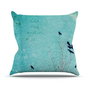 "KESS InHouse Robin Dickinson ""Love One Another"" Blue Birds Outdoor Throw Pillow, 18"" x 18"""