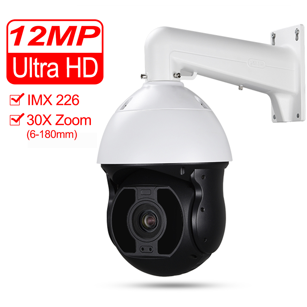 CCTV Ultra HD 4K IP 12MP PoE Dôme Haute Vitesse PTZ caméra Sony IMX226 Starlight 30X Zoom Optique