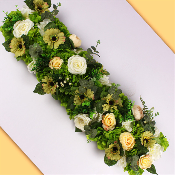 F-1421 Artificial Floral Silk Rose Arch Wedding Runner Table Flower 1m White Flower Row Decoration