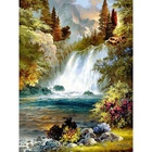 Wholesale 5D Diamond Painting DIY Crystal Rhinestone Art Forest and Waterfall Full Drill Resin Cross Stitch Mosaic Painting