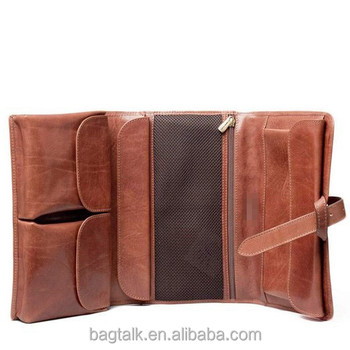 classic high end mens leather hanging wash bag travel toiletry bag for men