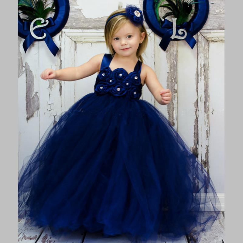 daf5e1ef2974a US $25.38 10% OFF|Handmade New Navy Girl Tulle Tutu Dress Baby Flower Girl  Dresses Kid Birthday Wedding Bridesmaid Pageant Graduation Formal Dress-in  ...