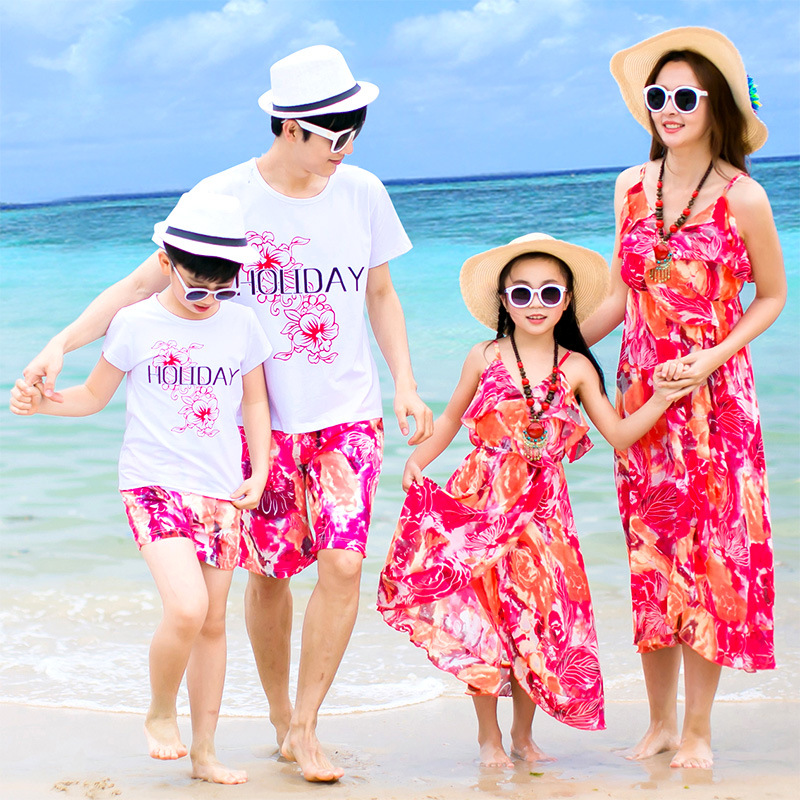 S12563A 2016 New Summer Family clothes Mother daughter Dress Father Son T shirt Fashion Family clothing