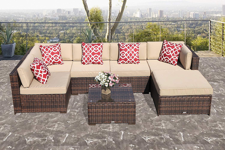 Buy Ragan Meadow 7 Piece Outdoor Sectional Sofa Set Seats 5 In