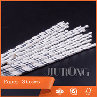 Wholesale Fancy Cheap Personalized Customized Silver and Gold Striped Paper Straw For Drinks