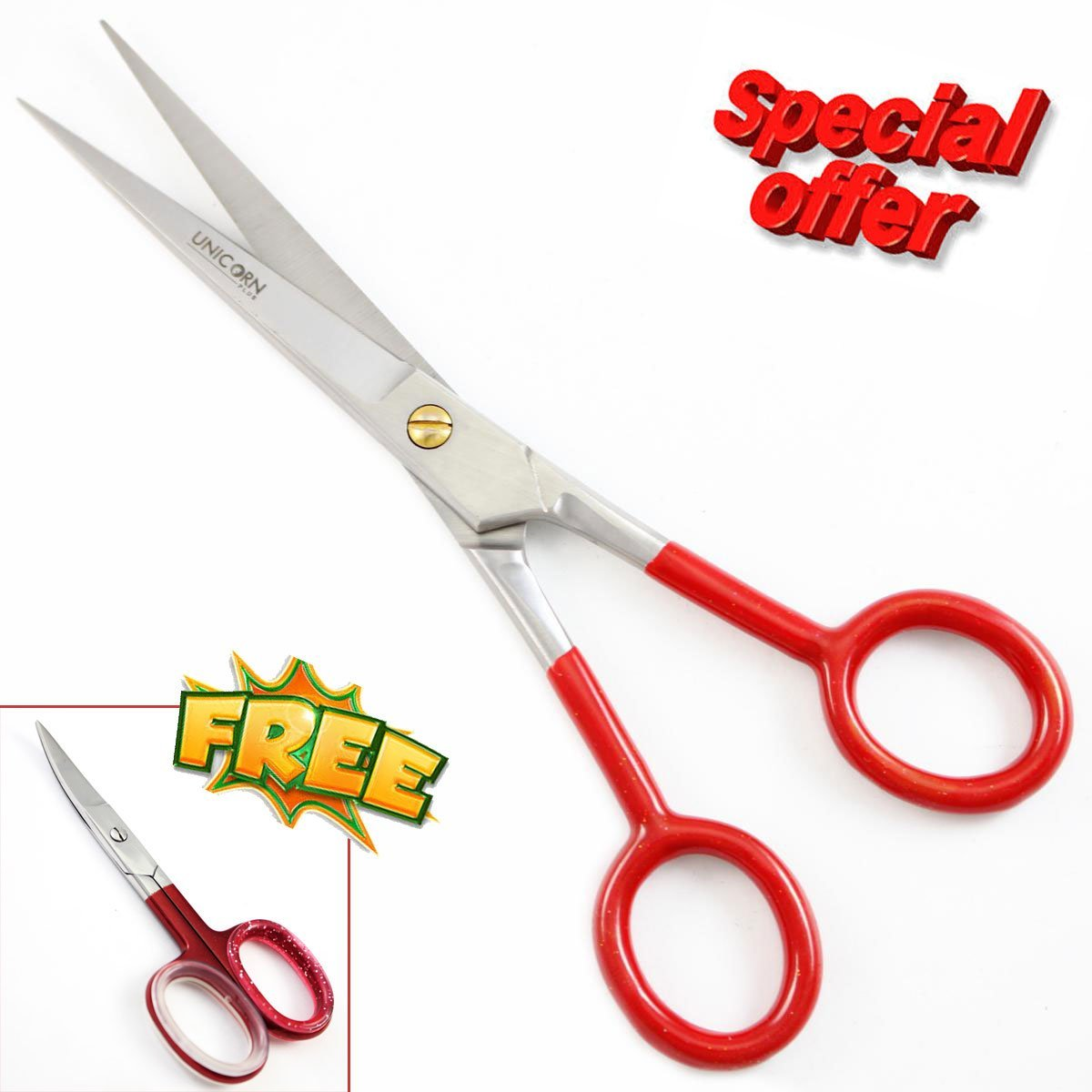 """Xmas / New Year Sales - Professional Hair Scissors - Super Cut Professional Top Quality Hair Cutting Barber Scissors,Shears 6.5 inch hairdressing Scissors to Cut Hair + FREE 3.5"""" Nail Scissors"""