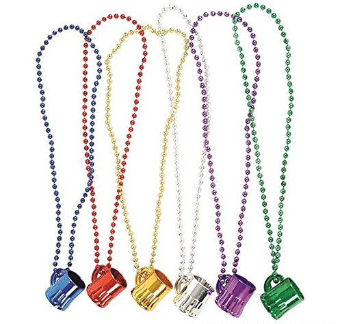 "33"" Large Mardi Gras Beads Necklaces With Super Sized Charms, 1 Dozen Bulk Set, Includes 12 Necklaces With Beer Mug Charms, Assorted Colors - Parade Beads - Party Favors - Bulk Toys - Dress Up Play"